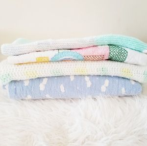 Other - Vintage baby blankets 2 quilted/1 crochet/ 1 knit